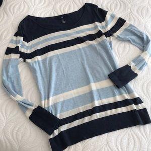 Gap Boatneck Sweater Nautical Block Print Stripes